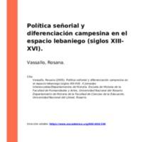 Política señorial y diferenciación campesina en el espacio lebaniego (siglos XIII-XVI)