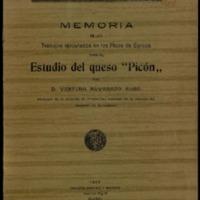 Memoria de los trabajos ejecutados en los Picos de Europa para el estudio del queso Picón