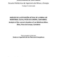 Análisis de la situación actual de la Mina Las Mánforas. Áliva, Picos de Europa, Cantabria
